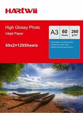 100 + 20 Sheets 260 Gsm A3  High Glossy Photo Paper Inkjet Paper Hartwii Printer