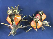 Retro Copper Brass 3-D Owls on Branch Wall Hanging Sculpture Mid Century Decor
