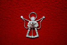 Angel Pin Brooch Christmas Clear Crystals Wings Religion Christian Free Ship