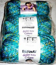 Bernat SOFTEE BABY Yarn Lot of 3 - TEAL RAINBOW (teal,green,blue,yellow)