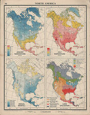 1939 MAP NORTH AMERICA JANUARY JULY TEMPERATURE ANNUAL RAINFALL LAND UTILISATION