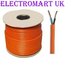 6A 6 AMP 0.75 2 CORE MAINS CABLE WIRE FLEX ORANGE PRICED PER METER