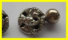 UNUSUAL PAIR C 1880 CHINESE SILVER ROBE BUTTONS,COCKEREL DESIGN,CUFF LINKS?