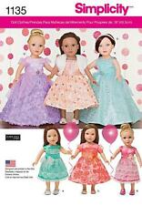 "SIMPLICITY SEWING PATTERN Formal PARTY 6 VARIATIONS Dresses for 18"" Dolls 1135"
