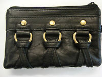 Soft Leather Ladies Matinee Coin Purse Black Wrist Strap