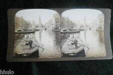 STA929 Holland canal Amsterdam peniche Photo 1900 STEREO stereoview