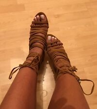 River Island Dark Beige Lace Up Heels Size 5