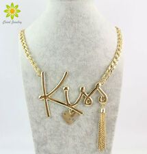 New Gold Chunky Chain Heart Love Necklace Fashion Long Tassel Hiphop Necklace