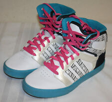 Womens Ladies Neo Adidas White Black Blue Pink High Top Sneakers Shoes Size 7M
