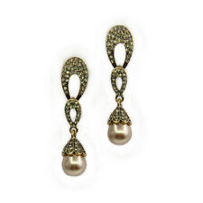 Fashion Drop Dangle Earrings Open Costume Jewelry Black Crystal Gold Pearl Gift