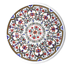 "24"" Marble Round Coffee Center Table Top Multi Floral Inlay Work Decor Art H998A"