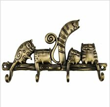Metal Cat Retro Clothes Robe Hat Towel Hanger Country Funky Hook DIY Wall Rack