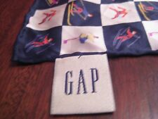"""GAP Small Silk Scarf Ice Skaters Skiers 16"""" Square Black White Pink Blue Yelow"""