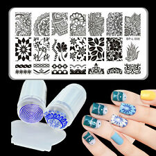 3pcs/set Born Pretty Arabesque Nail Art Stamp Plate & Silicone Clear Stamper DIY
