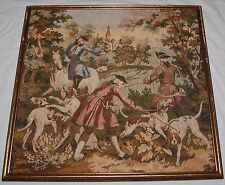 "Antique Victorian Royal Men Hunting Dogs Tapestry Art Framed 20"" Vibrant Colors"