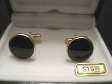 "COLIBRI OF LONDON NIB Gold Tone with Black Cufflinks 5/8"" 19.88 Retail Price ~MN"