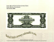 2002 B. E. P. Souvenir Card - 1899 $2.00 Treasury Note Reverse (proposed) - B264