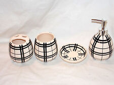 4pc Bathroom Set Black & White Checkered Soap Dispenser & Dish Toothbrush Holder