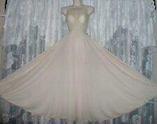 VTG Rich IVORY OLGA Classic FULL BODYSILK Nightgown Negligee Gown 9687 S M