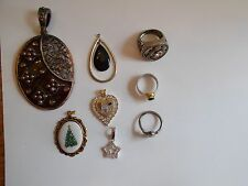 Lot of 5  Vintage Pendants and 3 Rings -Sterling, Gem, Gold Tone
