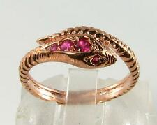 STUNNING 9CT ROSE GOLD  INDIAN RUBY COILED SNAKE RING FREE RESIZE