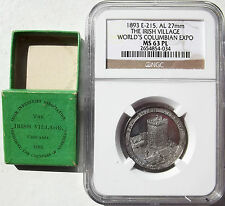 1893 World's Columbian Exposition Irish Village Token, Original Box, MS63 PL NGC