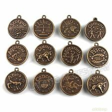 60pcs Lots Mixed Bronze Constellation Signs Of Zodiac Charms Pendant Findings J