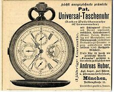 "Andreas Huber München ANKER- Praecisionsuhr "" URANIA"" Historische Reklame v.1899"