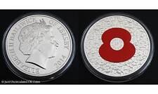 2014 amapola £ 5 cinco libras moneda de Color-Bailía de Jersey-algo que no podemos olvidar BU' '