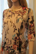TED BAKER ~Midsummer Floral~ Top UK 10 2 Wedding ~Holiday~ Party Cream Pleated