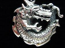 Sterling Solid Silver Heavy 11.6g Dragon Pendant Biker Goth pagan Fantasy