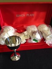 Set New Vintage Silver plated Stamped King's Plate Miniature Goblet 4 E.P. Brass