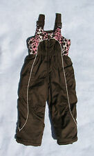 Zero Xposure Brown Pink Leopard Ski Bibs Pants, Snow, Insulated, Girls Small 4