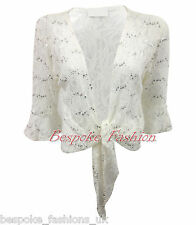 Ladies Women's Plus Size Lace Sequin ¾ Sleeve Bolero Tie Up Top Shrug Cardigan