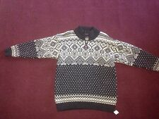 DEVOLD Nordic Pattern 100% Wool High Zip Neck Chunky Sweater/Jumper SIZE S