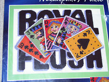 "* ROYAL FLUSH cards gamble needlepoint kit picture or pillow yarn kit 16"" x 12"""