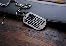 Hand Made Etched Nickel Silver Dog Tag Pendant - Distressed US Flag - American