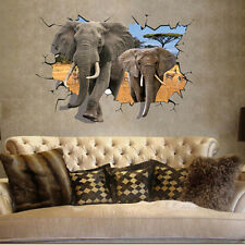 3D Large Elephants Removable Wall Stickers Kids Baby Wall Decal Art Mural Decor