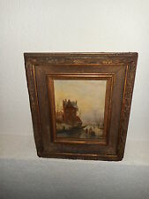 Very old oil painting,{ Dutch winterlandscape with lots of people, nice frame!}.