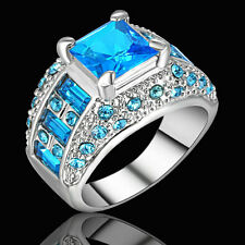 Size 9 Wedding Engagement Ring Sapphire Blue Gem Bridal Princess Platinum Plated