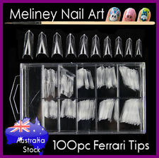 100pc Ferrari Sword Nail Tips French False Fake Acrylic Gel Nails Clear Pointy