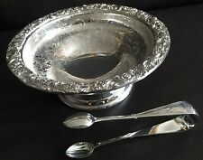 Antique 1889 Heavy Intricate Silver Plated Daniel & Arter Pedestal Dish & Tongs
