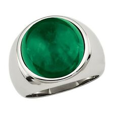 925 Sterling Silver Natural Emerald Cabs Ring For Man Size 8 To 12