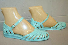 6 Aqua Rubber Vtg 70s does 40s Mary Jane Mexican Sandak Strappy Sandal Shoe