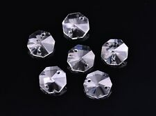 10pcs 14mm 2 Holes Octagon Faceted Crystal Glass Charms Loose Beads Clear