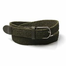 Olive Green Woven Leather-Trimmed Belt