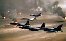 8x10 Print Military Aircraft F-15 Eagle F-16's Iraq Oil Field #38992E