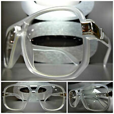 CLASSIC VINTAGE RETRO 80's AVIATOR Clear Lens EYE GLASSES Frosted & Silver Frame
