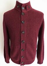 $2580 BRUNELLO CUCINELLI Burgundy Ribbed Thick Cashmere Cardigan Sweater 50 Euro
