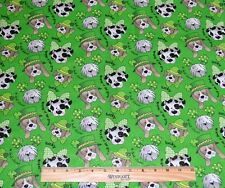 ST PATRICKS DAY FABRIC! DOGS! BY THE HALF YARD! QUILTING! DALMATIAN~BASSET HOUND